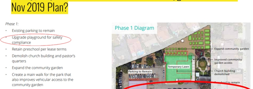 An image showing the August 2019 PRNS plan and how they were planning on upgrading the Sharks' playground.