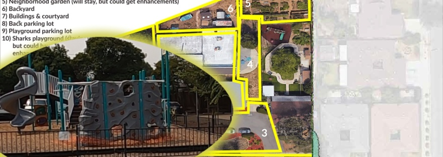 Sharks' playground overlaid on the image that was used for the July 2017 community placemaking.